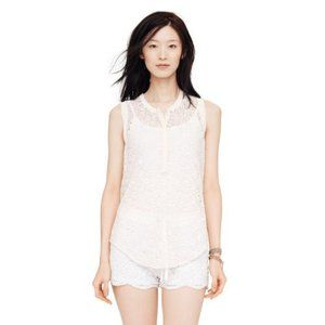 CLUB MONACO Silk Eyelet Sleeveless Top